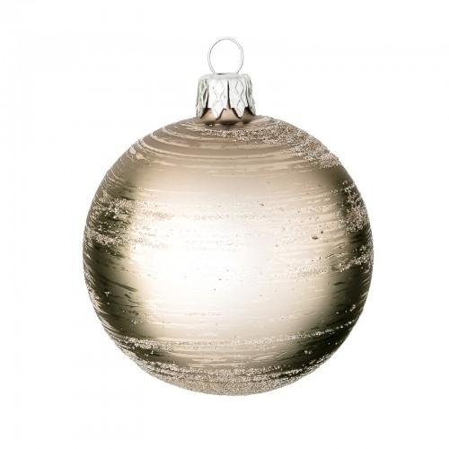 Skleněná vánoční koule s bílými krystalky, šedá, matná -...